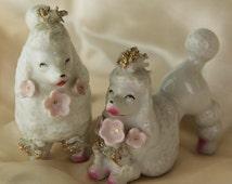 Rare Antique Poodle Figurines - Carnival Prizes