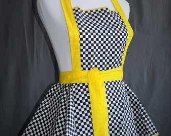 Set.... Retro Racing themed flirty apron