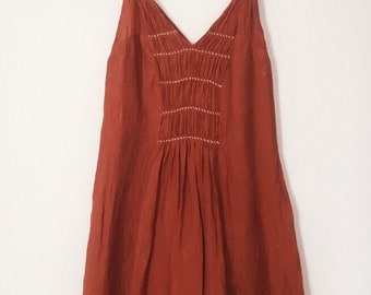 Vintage 70s Rustic Mini Dress with Embroidered Top and Pleats