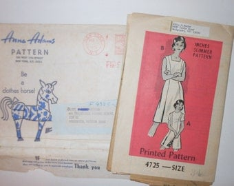 Vintage 60's Anne Adams Sleeveless Dress Pattern 4725 UNCUT