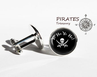 Yo ho cufflinks, Pirates yo ho cuff links, silver, bronze plated cufflink, men and women accessories