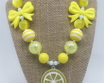 Lemon Yellow Lemonade Fun Chunky Bubblegum Necklace