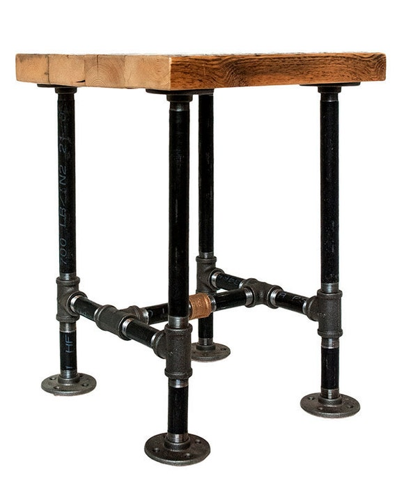 Reclaimed wood side table rustic end table pipe leg squar for Rustic pipe table