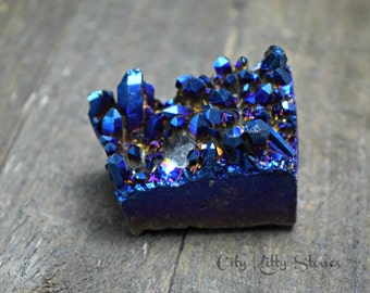 Cobalt Mystic Aura Quartz Crystal Cluster Cabochon, Electroplated Gemstone, Healing Meditation Stone, Druzy Quartz Cab, Rocks and Geodes