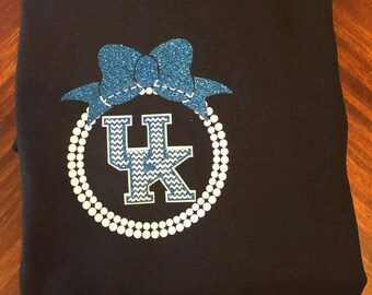 Kentucky Wildcat BBN Shirt with Bow and Pearls. BBN shirt. wildcat shirt. Chevron UK Shirt. University of Kentucky Shirt. shirt. tshirt. uk.