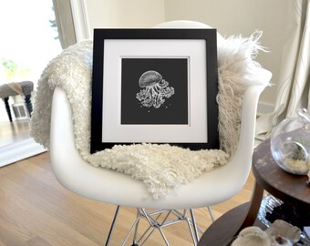 "Jellyfish Inverted Freehand Ink Drawing Limited Edition Print, Signed Numbered 8"" x 8"""