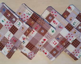 Brown & White Patchwork Effect Cotton Coasters (set of 4)
