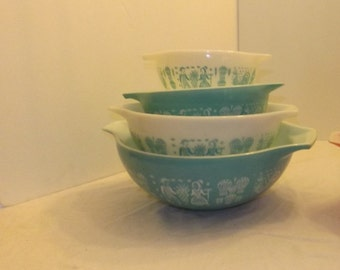 Turquoise Butterprint  Pyrex Mixing Bowls