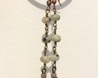 Kiwi Jasper wire earrings
