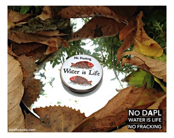 Button: Water Is Life, No Fracking, climate justice, ecology, standing rock, NoDAPL, fish, gift, lapel pin
