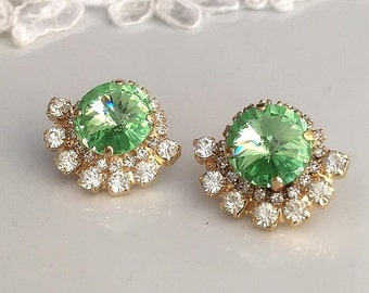 Green stud earrings, Green swarovski crystal Statement earrings, Green Crystal post earrings, Wedding earrings, Gold Earrings