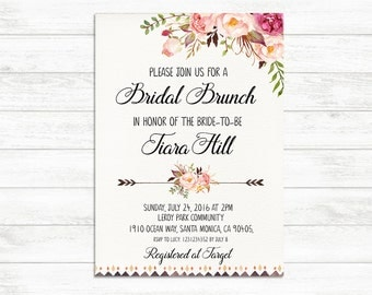 BRIDAL BRUNCH Invitation, Printable Bridal Invite, Floral Bridal Brunch Invitation, Rustic Boho Bridal Shower Invite, Bride to be Invite