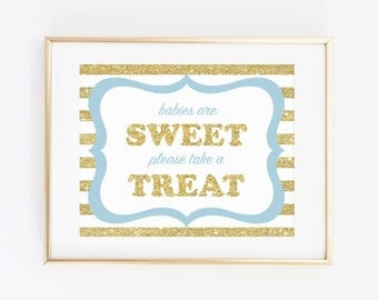 Blue Baby Shower Party Favor Sign, Babies Are Sweet Please Take A Treat, Blue Gold Glitter, Baby Shower Decorations, Baby Shower Boy