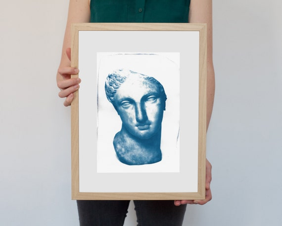 Greek Woman Bust Sculpture, Cyanotype Print on Watercolor Paper, A4 size