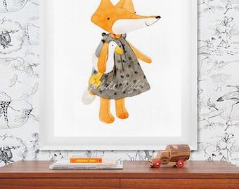 Fox (01) - water color art prints