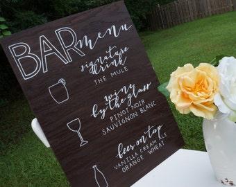 Bar Menu // Wood Wedding Sign