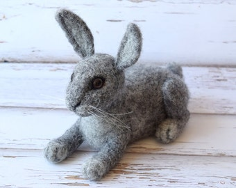 Needlefelted Bunny, Needlefelted Rabbit, Gray Felted Rabbit, MADE TO ORDER