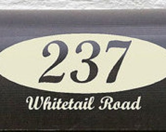 Vinyl Mailbox numbers on an oval base