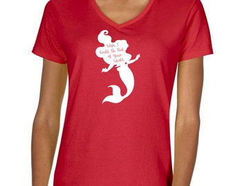 """The Little Mermaid Ariel """"Part of your world"""" Vneck Tshirt"""