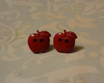 Red Apple Earrings, made from vintage recycled buttons
