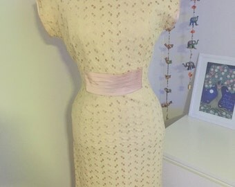 SALE Pink and cream vintage evening gown