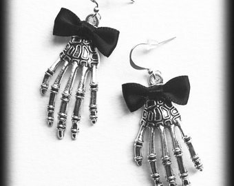 Gothic Skeleton Earrings, Skeleton Hands, Antique Silver, Black Bows, Alternative Jewelry, Gothic Gift, Handmade Jewelry, Halloween Jewelry