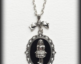 Alice Cameo Necklace, Alice in Wonderland Jewelry, Alice Pendant, Gothic Victorian Steampunk, Antique Silver, Unique Gift, Handmade Jewelry