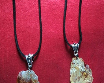 Suede Necklace with Raw Citrine Pendant