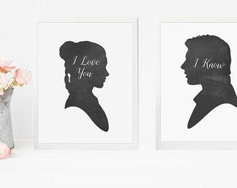 PRINTABLE Art Han Solo Princess Leia I Love You Silhouette SET Print Chalkboard Chalk Black and White Quote Wall Art Poster Download