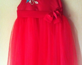 Satin Red tulle dress
