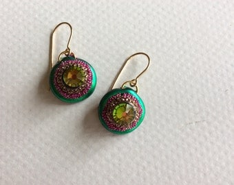 Green and Gold Boob Earrings