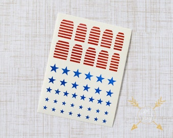Red and Blue Patriotic Stars and Stripes Glitter Vinyl Nail Decals