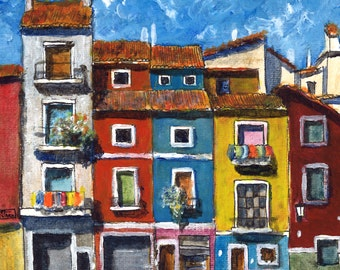 Color Spanish Village Painting 1