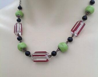 1930s Art Deco glass beads necklace vintage antique