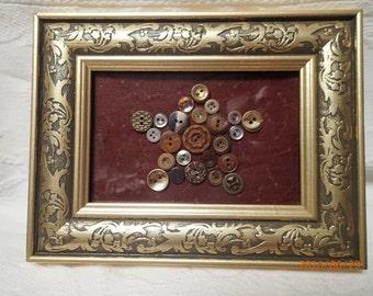 Vintage button artwork-Button artwork-Star artwork-Vintage frame-Gold frame-Vintage buttons-Home Decor-Decor-Handmade-One-of-a-Kind.