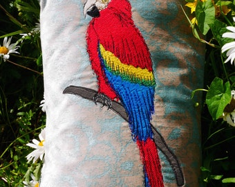 Handmade parrot cushion