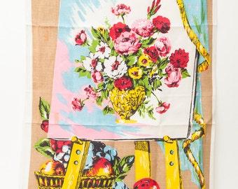 Vintage Floral Tea Towel / Kitchen Towel, Still Life on Easel, Unused Vintage Cotton and Linen Tea Towel, 1960s