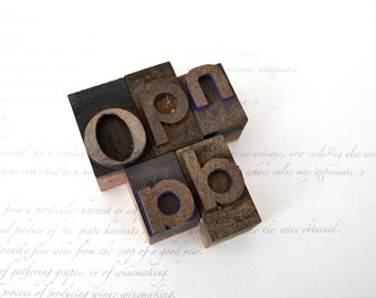 Vintage Letterpress Wooden Printers Type Blocks - (5) Letter Blocks