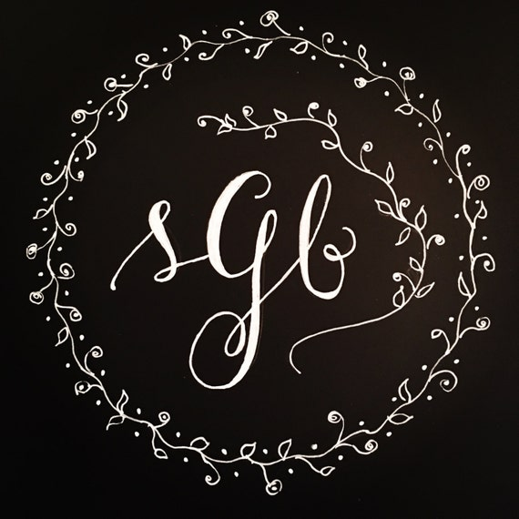 Custom Print - Chalkboard Calligraphy Monogram w/Ivy Circle Border