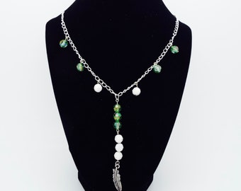 Green and White Beaded Feather Necklace