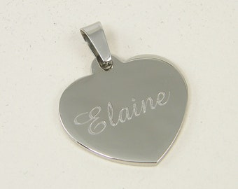 Engraved Heart Pendant Custom Name Pendant Silver Heart Pendant Stainless Steel Personalized Heart Charm |2225