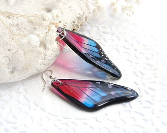 Red earrings blue morpho butterfly wing earrings Resin insect jewelry like real butterfly earrings Exotic butterfly jewelry Gift for her