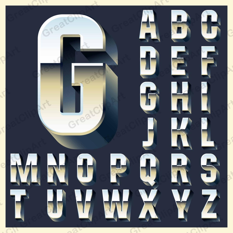 Gray Alphabet Font: 26 Metalic Alphabet, Letters, Metalic Numbers, Grey