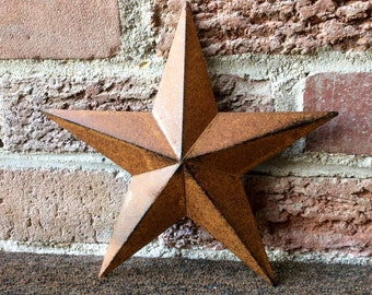 Set of 3 (5.5 inch) Rusty Tin Metal Barn Stars, Country Barn Star, Country Craft Star, Tin Star Ornament, Country Home Decor