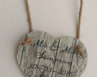 Personalised wedding gift, shabby chic heart, Rustic home decor, Gift for him, Gift for her, Home decor, Kitchen decor, Hanging wall plaque