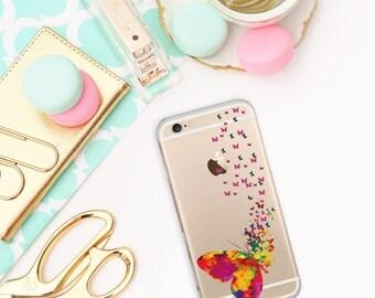 Butterflies case, Transparent iPhone 6S case, iPhone 6, Aquarell case