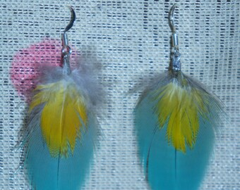 Sm double Macaw feather earrings