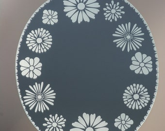 Oval wall mirror, handmade mirror, handmade wall mirror, daisies oval mirror, mirror