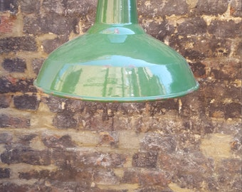 1930s green industrial pendant light: rewired and PAT tested