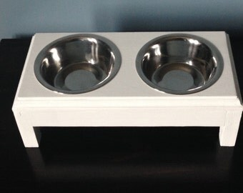 Elevated Pet Feeder + 2 Stainless Steel Dishes For Small Dog/Cat,Wooden,Handmade